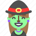emoji, female, glad, halloween, horror, monster, witch icon
