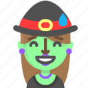 emoji, female, halloween, horror, monster, sorry, witch icon