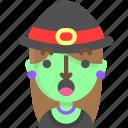 emoji, female, halloween, horror, monster, surprised, witch icon