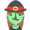 emoji, female, halloween, horror, monster, tongue, witch icon