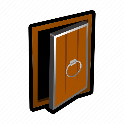 door, exit, knob, magic, medieval, old icon