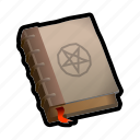 book, mage, magic, pentagram, spell, witch, wizard icon