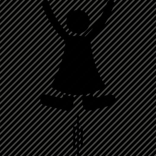 action, happy, joyful, jump, jumping, up, woman icon