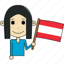 austria, avatar, character, country, face, flags, woman icon