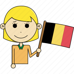avatar, belgium, character, country, face, flags, woman icon