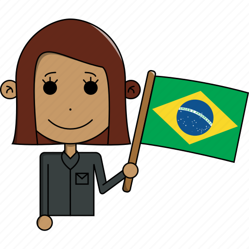 avatar, brazil, character, country, face, flags, woman icon