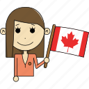 avatar, canada, character, country, face, flags, woman icon