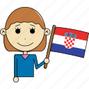 avatar, character, country, croatia, face, flags, woman icon