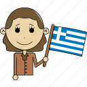 avatar, character, country, face, flags, greece, woman icon