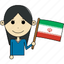 avatar, character, country, face, flags, iran, woman icon