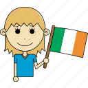 avatar, character, country, face, flags, ireland, woman icon