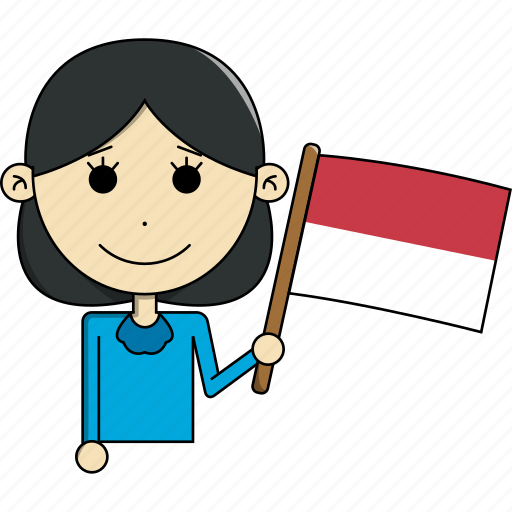 avatar, character, country, face, flags, indonesia, woman icon