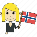 avatar, character, country, face, flags, norway, woman icon