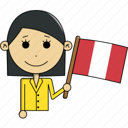 avatar, character, country, face, flags, peru, woman icon
