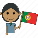 avatar, character, country, face, flags, portugal, woman icon