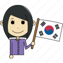 avatar, country, face, flags, korea, south, woman icon