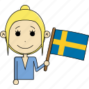 avatar, character, country, face, flags, sweden, woman icon