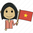 avatar, character, country, face, flags, vietnam, woman icon