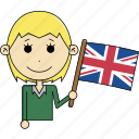 avatar, country, face, flags, kingdom, united, woman icon