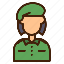 army, woman, avatar, soldier, captain, military, user icon