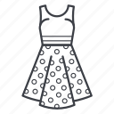 dots, dress, fashion, girl, summer dress, woman icon
