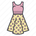 dots, dress, fashion, shopping, summer dress icon