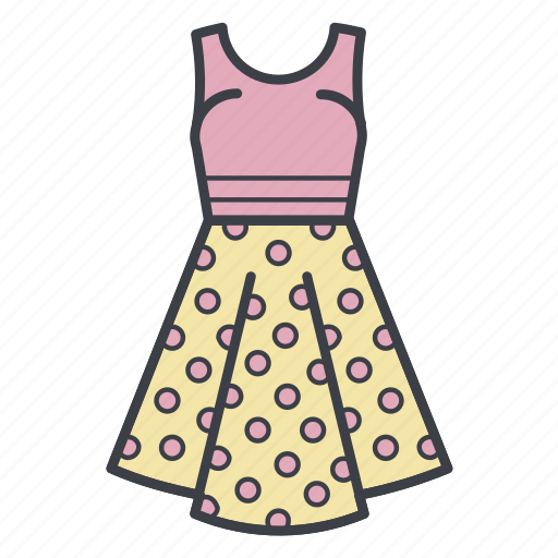 dots, dress, fashion, shopping, summer dress icon