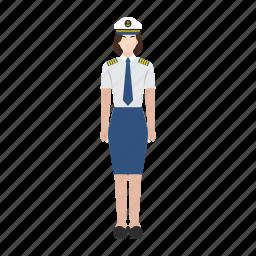 captain, job, occupation, profession, ship, woman, work icon