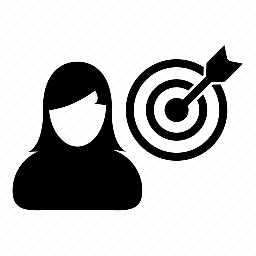 bullseye, business, dartboard, goal, person, target, woman icon