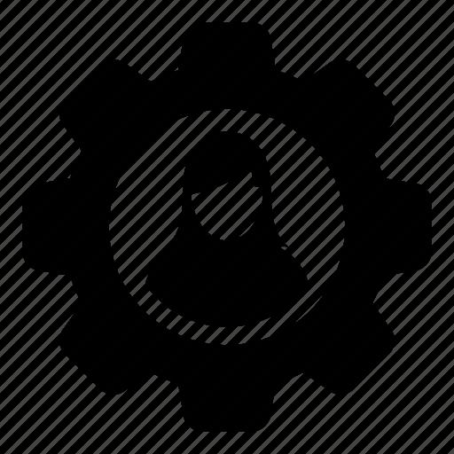 cog, configuration, female, gear, person, settings, woman icon