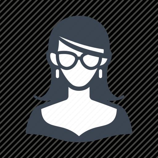 avatar, businesswoman, glasses, teacher, user, woman icon