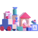 toys, gifts, presents, wooden toys icon