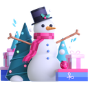 snowman, gifts, presents icon
