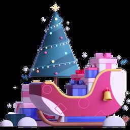 sleigh, presents, gifts, christmas