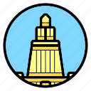 greece, lighthouse of alexandria, tower, wonder of the world icon