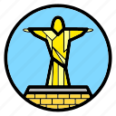brazil, christ the redeemer, jesus, statue, wonder of the world icon