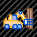 industry, logging, lumberjack, machine, material, storaging, transportation icon