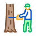 felling, material, storaging, timber, transportation, tree, worker icon