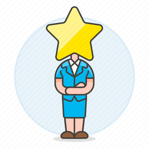 1, boss, ceo, female, head, hiring, human, leader, manager, resources, star, work icon
