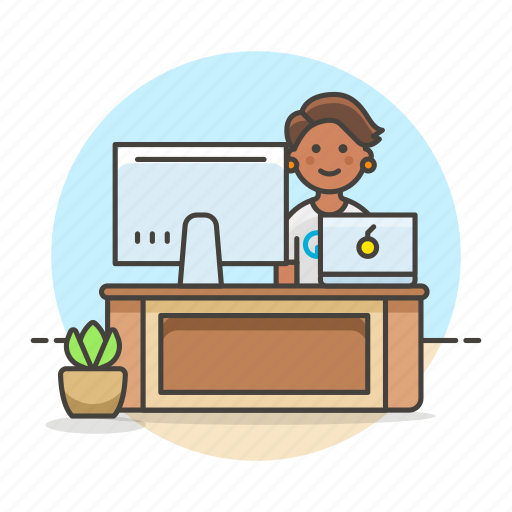 1, code, design, desk, employee, female, freelance, home, job, laptop, mac, office, pc, sit, studio, work icon