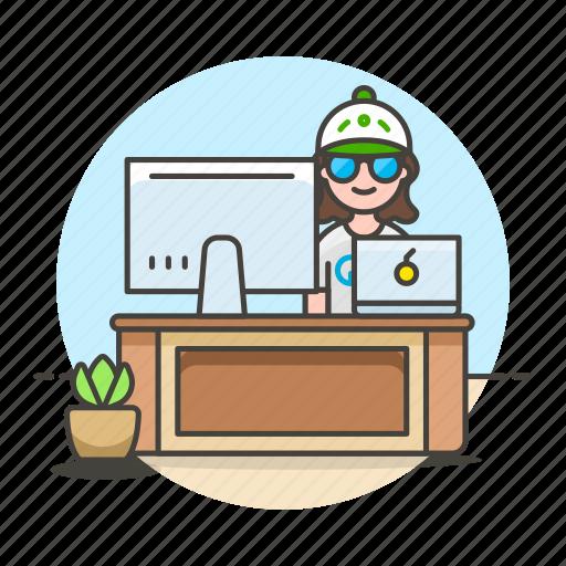 code, design, desk, employee, female, freelance, home, job, laptop, mac, office, pc, sit, studio, work icon