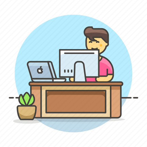 code, design, desk, employee, freelance, home, job, laptop, mac, male, office, pc, sit, studio, work icon