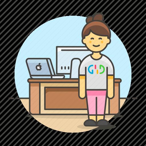 1, code, design, desk, employee, female, freelance, home, job, laptop, mac, office, pc, stand, studio, work icon