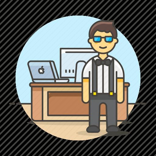 code, design, desk, employee, freelance, home, job, laptop, mac, male, office, pc, stand, studio, work icon
