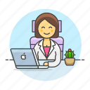 chair, coffee, female, half, job, laptop, mac, manager, office, sit, work icon
