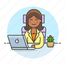 chair, mac, coffee, sit, job, half, laptop, office, manager, work, female icon