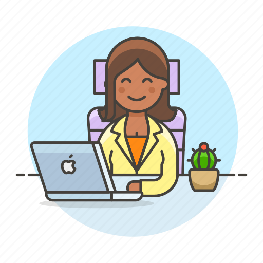 2, chair, coffee, female, half, job, laptop, mac, manager, office, sit, work icon