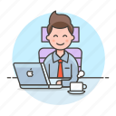 chair, coffee, half, job, laptop, mac, male, manager, office, sit, work icon
