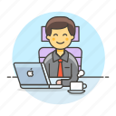 chair, mac, coffee, sit, job, male, half, laptop, office, manager, work icon