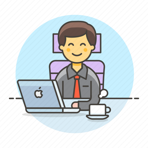 2, chair, coffee, half, job, laptop, mac, male, manager, office, sit, work icon
